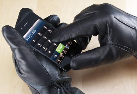 Women S Black Leather Touchscreen Gloves Sharper Image