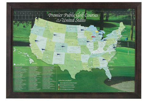 US Golf Course Travel Map Sharper Image - Us golf course map