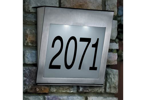 Solar House Number With Stainless Steel Spikes Sharper Image