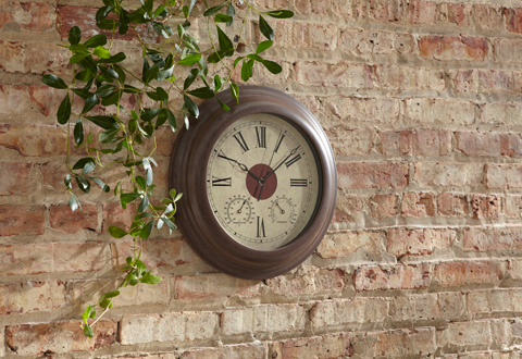 Solar Powered Outdoor Wall Clock Sharper Image