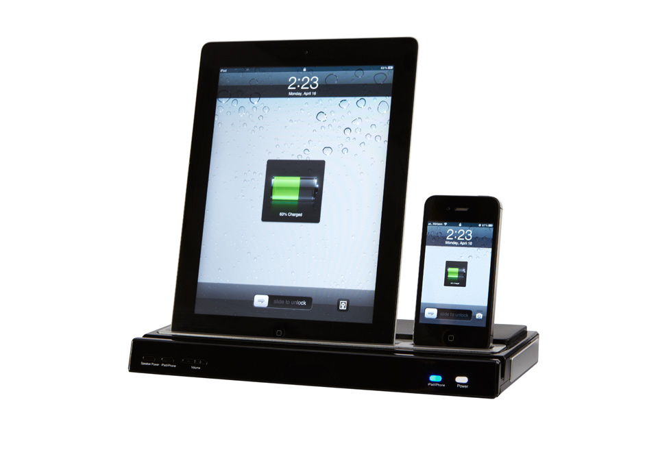 iphone ipad docking station with speakers sharper image. Black Bedroom Furniture Sets. Home Design Ideas