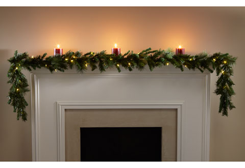 Buy your holiday decorations at SharperImage.com. Our Battery-Operated Garland spans 9 feet and features 36 warm white LEDs to brighten your mantel or stairway.