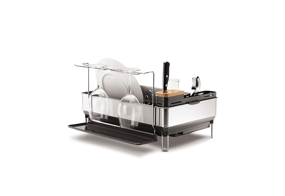simplehuman dish rack simplehuman 174 dish rack with wine glass holder sharper image 10501