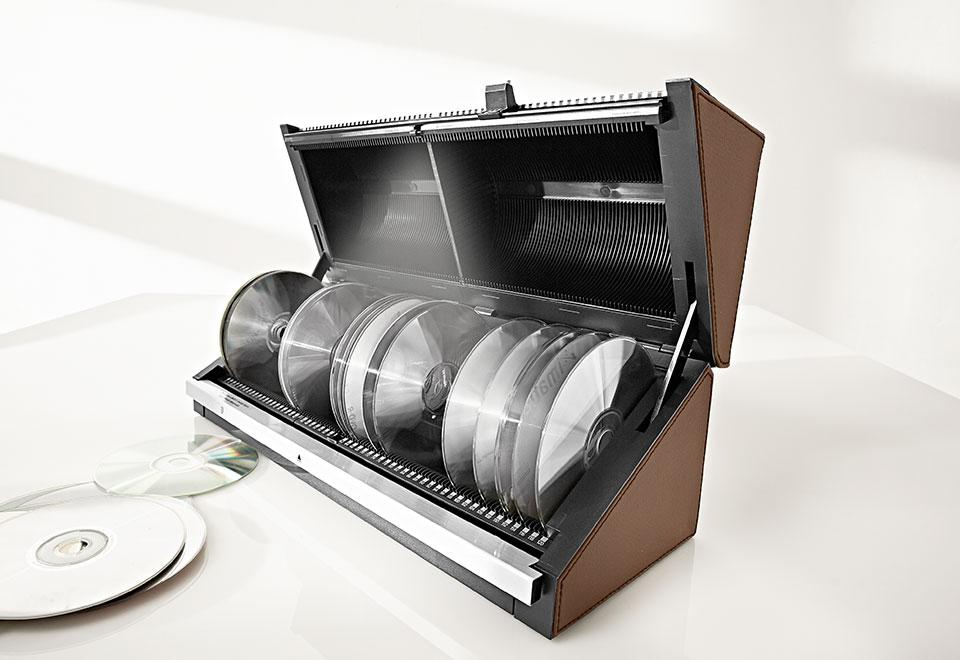 120 Cd Storage Box With Light Sharper Image