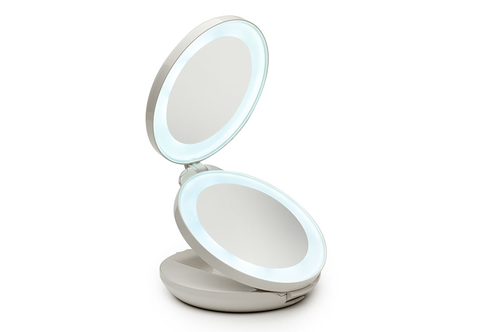 Dual Lighted Led Travel Mirror Sharper Image