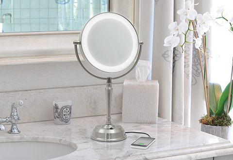 Cordless Lighted Vanity Mirror With Phone Charger