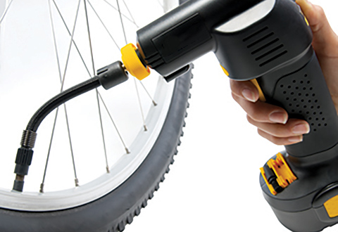 cordless auto stop tire inflator sharper image. Black Bedroom Furniture Sets. Home Design Ideas