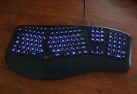 Ergonomic Backlit Gaming Keyboard Sharper Image