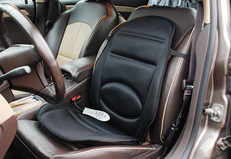 car cushion with massage and heat sharper image. Black Bedroom Furniture Sets. Home Design Ideas