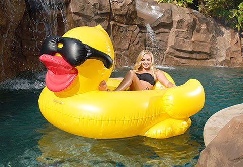 Giant rubber duckie float sharper image for Duck repellent for swimming pools
