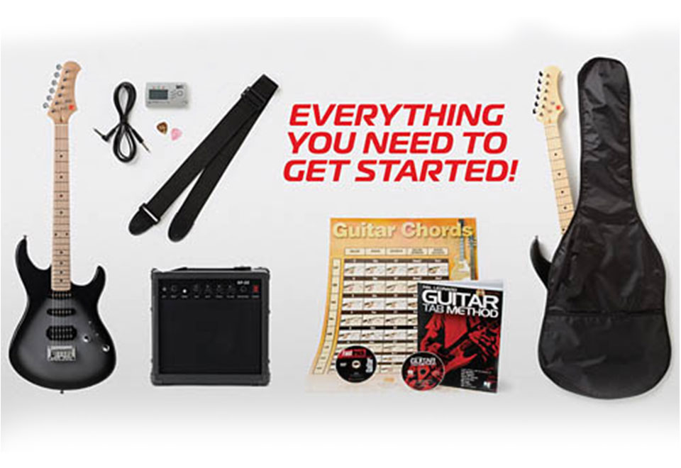 learn to play electric guitar pack sharper image. Black Bedroom Furniture Sets. Home Design Ideas