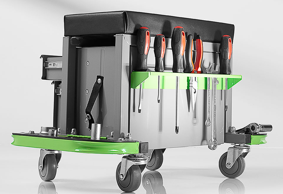 Rolling Toolbox Stool Sharper Image